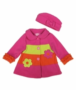 Good Lad Girls Fleece Coat with Ruffled Cuffs and Hat - Striped Flower