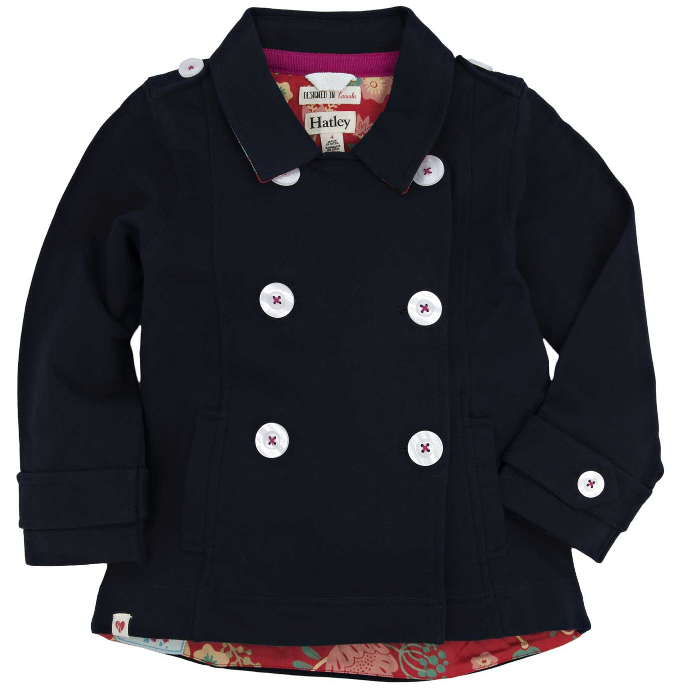 Girls Navy Terry Pea Coat with Field Flower Lining