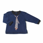 Kapital K Boys Long-Sleeve Navy Tee with Necktie Print