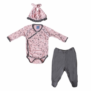 KicKee Pants Baby Girl Bodysuit and Footed Pants Set with Hat