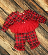 Laura Dare Girls Traditional Plaid Frilly PJ