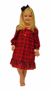 Laura Dare Girls Traditional Plaid Long-Sleeve Night Gown