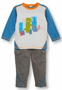 Le Top Boys Dinosaur Shirt & Heather Gray French Terry Pant Set � Dino in the City!