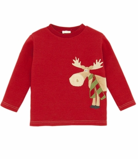 Le Top Boys Holiday Moose Waffle Shirt