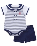 Le Top Boys Nautical Bodysuit and Short - Ahoy Baby