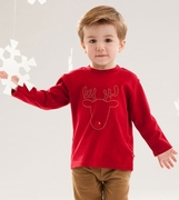 Le Top Boys Rudolph Outline Long Sleeve Shirt � Jingle All the Way