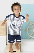 Le Top Boys Schooner Stripe Shirt and French Terry Short Set � Sail Away