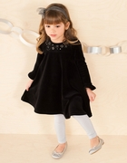 Le Top Girls Black Velour Dress � Swirls & Stars