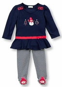 Le Top Girls Snowgirl Shirt and Footed Stripe Pant � Frozen Friends