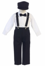Lito Boys Long Sleeve Suspender Pant Set with Hat – Black