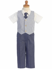 Lito Boys Seersucker Vest Pant Set - Blue