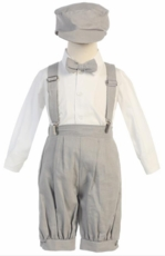 Lito Boys Suspender Knickers with Hat – Light Gray