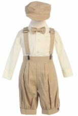 Lito Boys Suspender Knickers with Hat – Khaki