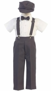 Lito Boys Suspender Pant Set with Hat - Charcoal