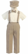 Lito Boys Suspender Pant Set with Hat - Khaki