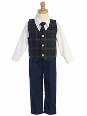 Lito Boys Tartan Plaid Holiday Vest Set