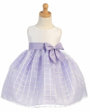 Lito Girls Embroidered Organza Dress – Lilac