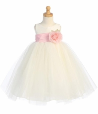 Lito Flower Girls Poly Silk and Tulle Dress with Sash