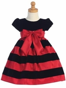 Lito Girls Red and Black Holiday Dress with Striped Skirt