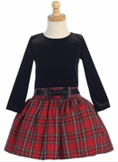 Lito Girls Red Plaid Drop Waist Dress