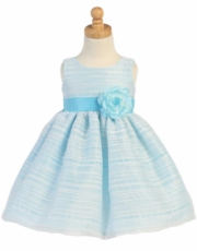 Lito Girls Striped Organza Dress with Flower – Blue