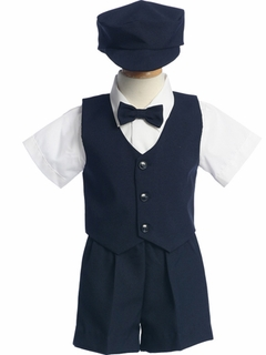 Lito Infant Boys Vest Short Set w/ Hat � Navy