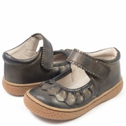 Livie and Luca Girls Black Gold Leather Shoe - Ruche