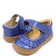 Livie and Luca Girls Cobalt Blue Shimmer Leather Shoe - Ruche
