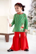 Molly and Millie Girls Polka Dot Reindeer Tunic and Super Flare Pant Set