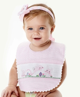 Mud Pie Baby Girl Pink Bunny Bib