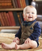 Mud Pie Boys Tweed Vest Crawler � Little Gentlemen PREORDER