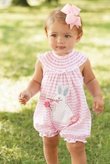 Mud Pie Girls Bunny Bubble Romper – Happy Easter PREORDER