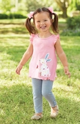 4T, 5T - Mud Pie Girls Bunny Tunic & Legging Set � Happy Easter