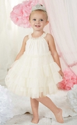 Mud Pie Girls Ivory Tiered Ruffle Dress � Happy Easter PREORDER