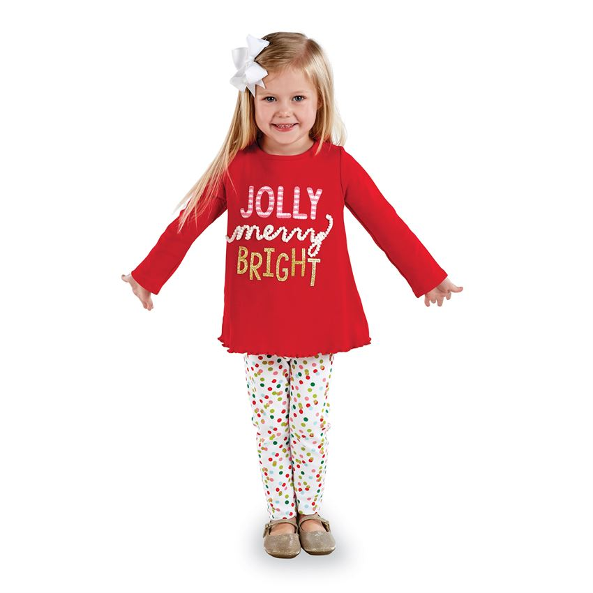 Mud Pie Girls Jolly Tunic and Legging Set - Night Before Christmas