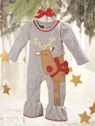 Mud Pie Girls Reindeer Coverall - Season to Sparkle