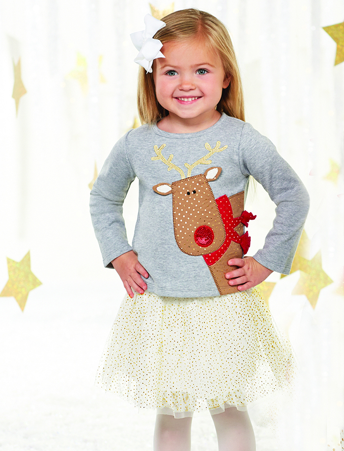 Mud Pie Girls Reindeer Skirt Set - Season to Sparkle