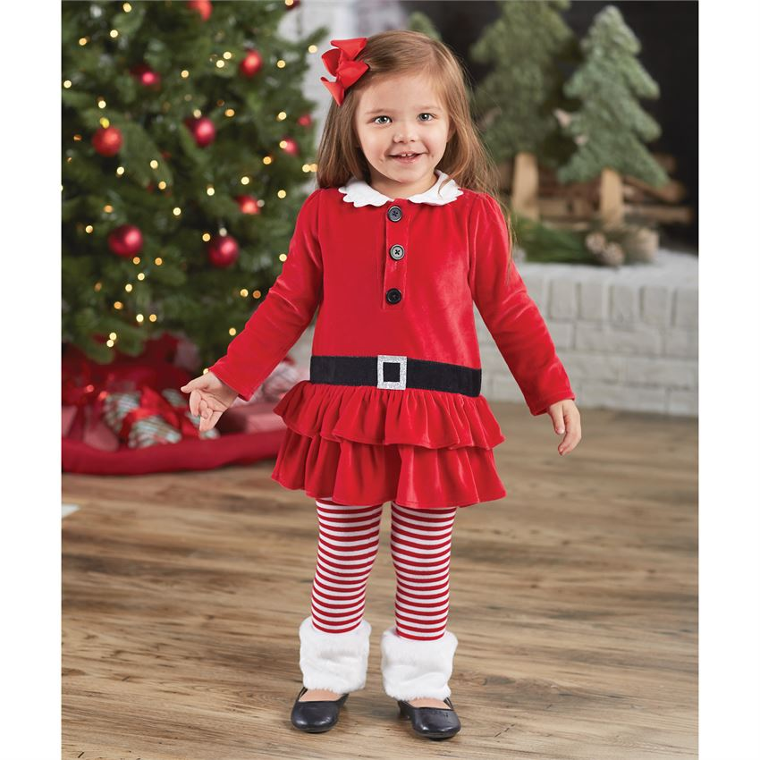 Mud Pie Girls Tunic and Legging Set - Santa