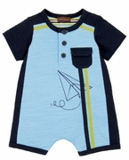Rabbit Moon Boys Blue Paper Plane Romper - Aero