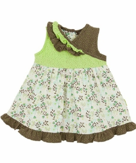 Rabbit Moon Toddler Girl Cross Yoke Dress with Floral Skirt - Reflection