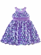 Rare Editions Floral Soutache Dress - Purple and Mint