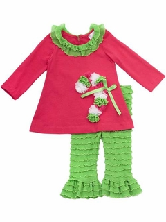 Rare Editions Girls Candy Cane Holiday Tunic with Lime Ruffle Pant