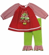 Rare Editions Girls Christmas Tree Tunic and Lime Leggings Set
