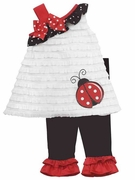 Rare Editions Girls Ladybug Ruffle Knit Top and Legging Set