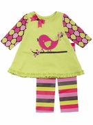 Rare Editions Girls Lime Bird Knit Top and Legging Set