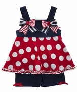 Rare Editions Girls Patriotic Polka Dot Skirted Romper