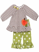 Girls Pumpkin Tunic with Polka Dot Legging Set