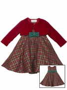 Rare Editions Girls Red Plaid Dress with Velvet Cardigan