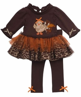 Rare Editions Girls Thanksgiving Dress Set with Glitter Tutu
