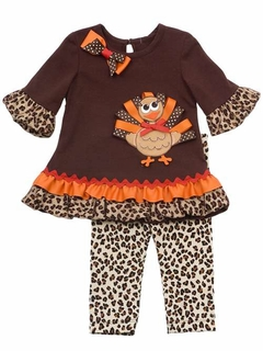 Rare Editions Girls Thanksgiving Turkey Tunic and Leopard Print Legging